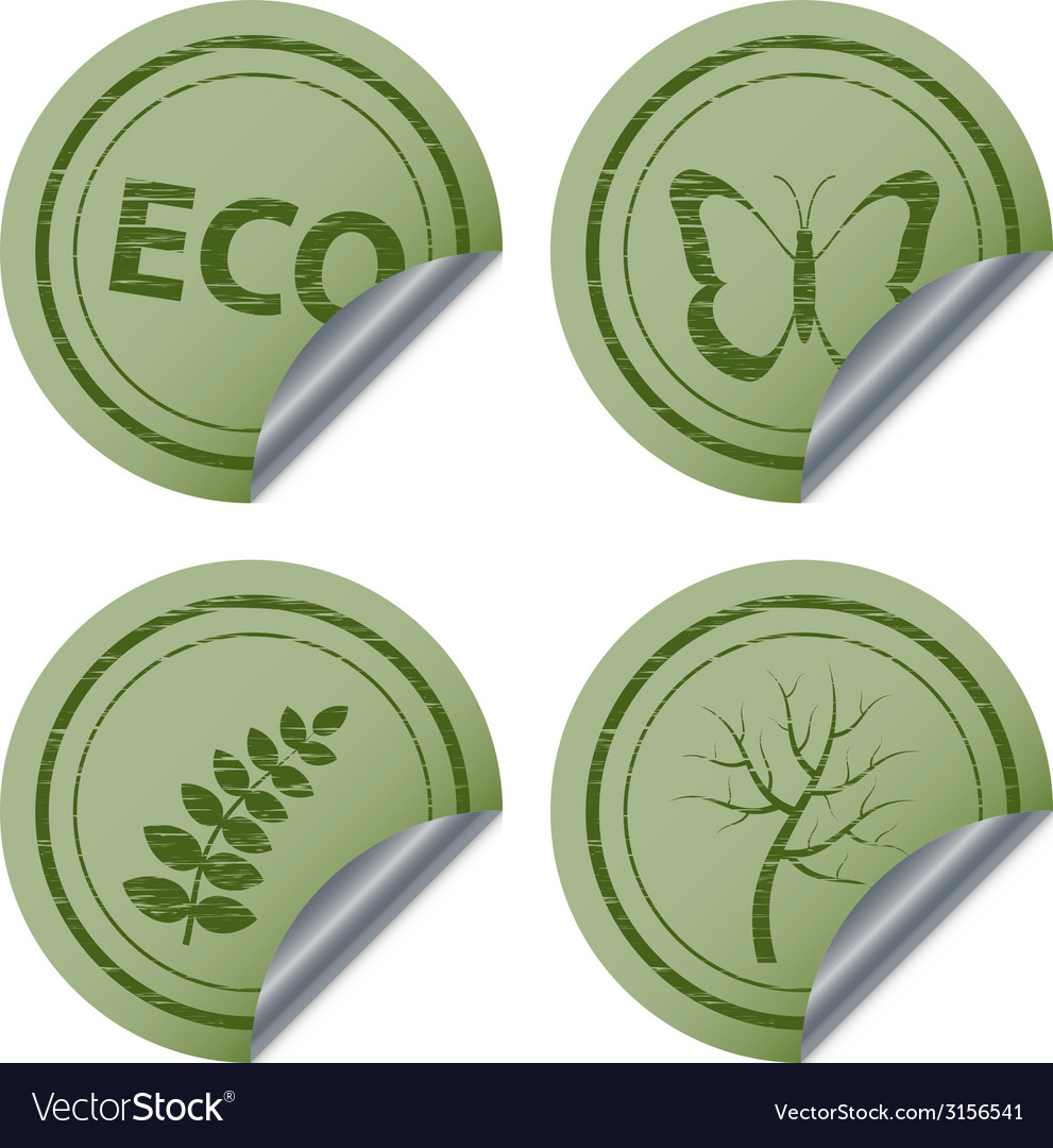 Scratched eco stickers vector | Price: 1 Credit (USD $1)