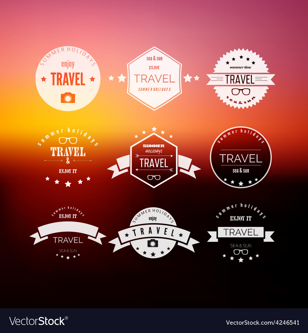 Set of travel signs on abstract blurred vector | Price: 1 Credit (USD $1)