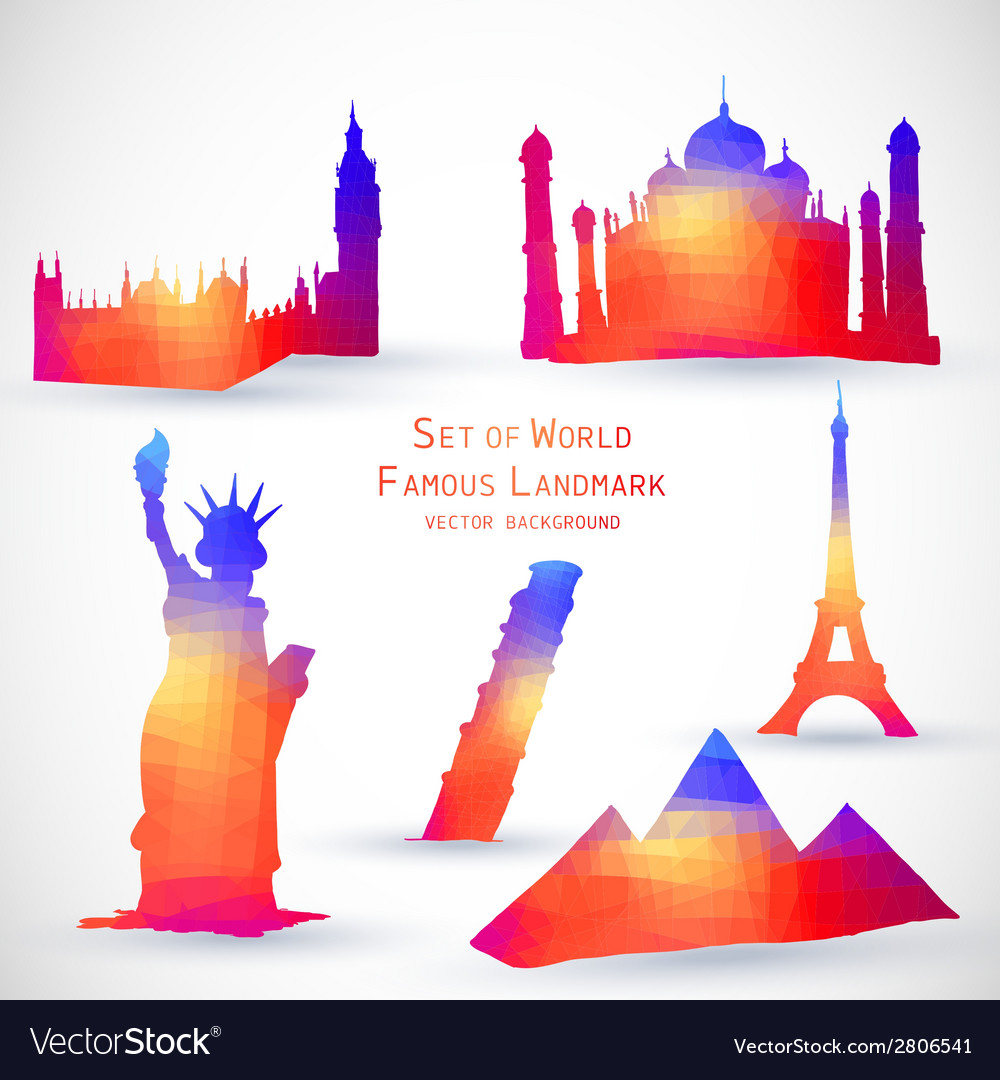 Set of world famous landmark vector | Price: 1 Credit (USD $1)