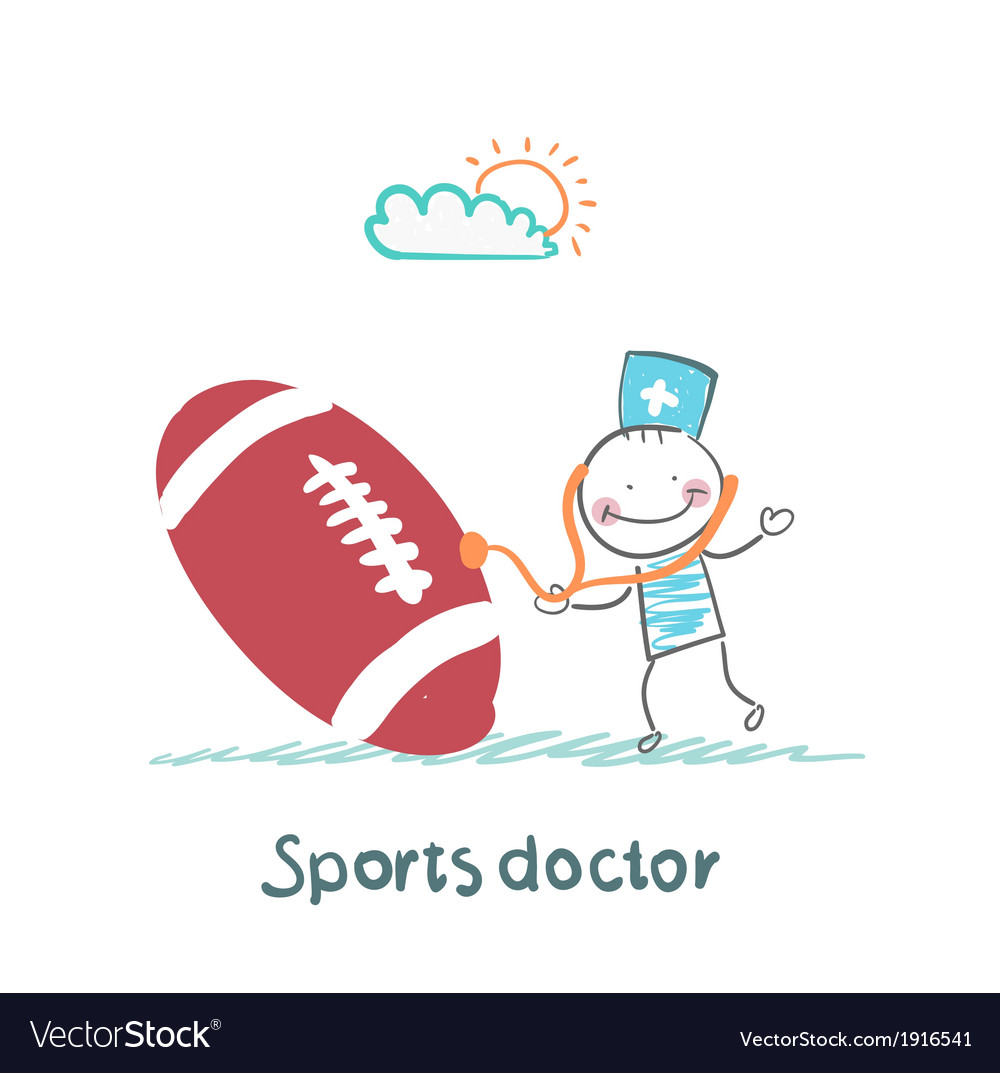 Sports doctor listens to a stethoscope football vector | Price: 1 Credit (USD $1)