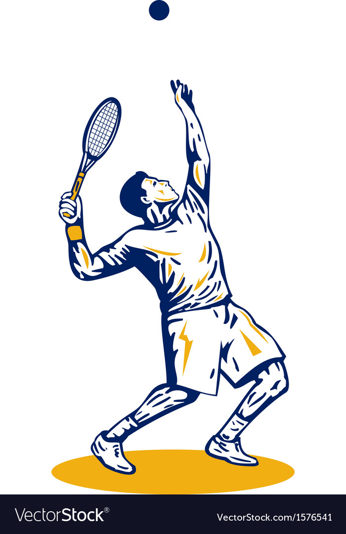 Tennis player serving vector | Price: 1 Credit (USD $1)