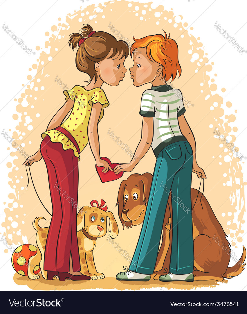 Valentines day theme loving boy and girl vector | Price: 3 Credit (USD $3)