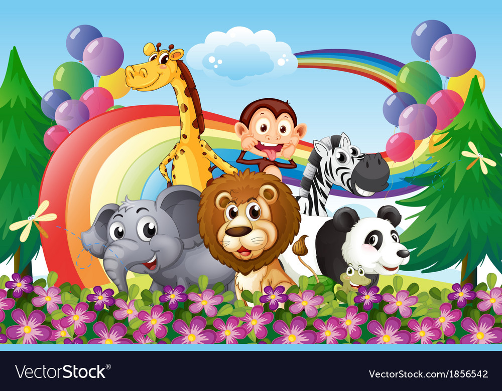 A group of animals at the hilltop with a rainbow vector | Price: 3 Credit (USD $3)