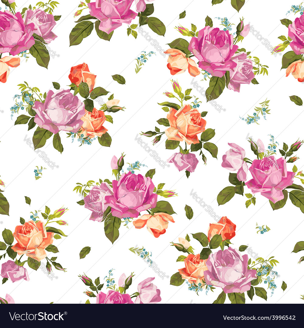 Abstract seamless floral pattern with pink and vector | Price: 1 Credit (USD $1)