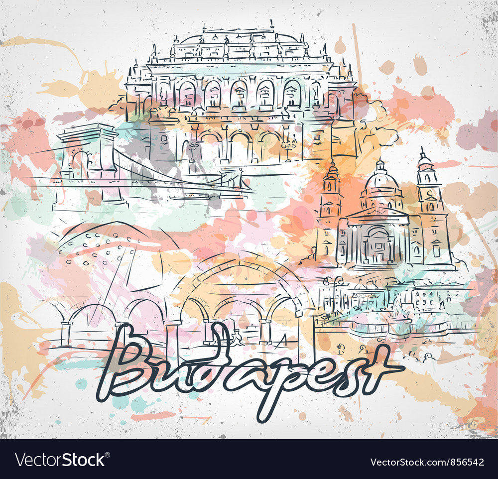 Budapest doodles with grunge vector | Price: 3 Credit (USD $3)