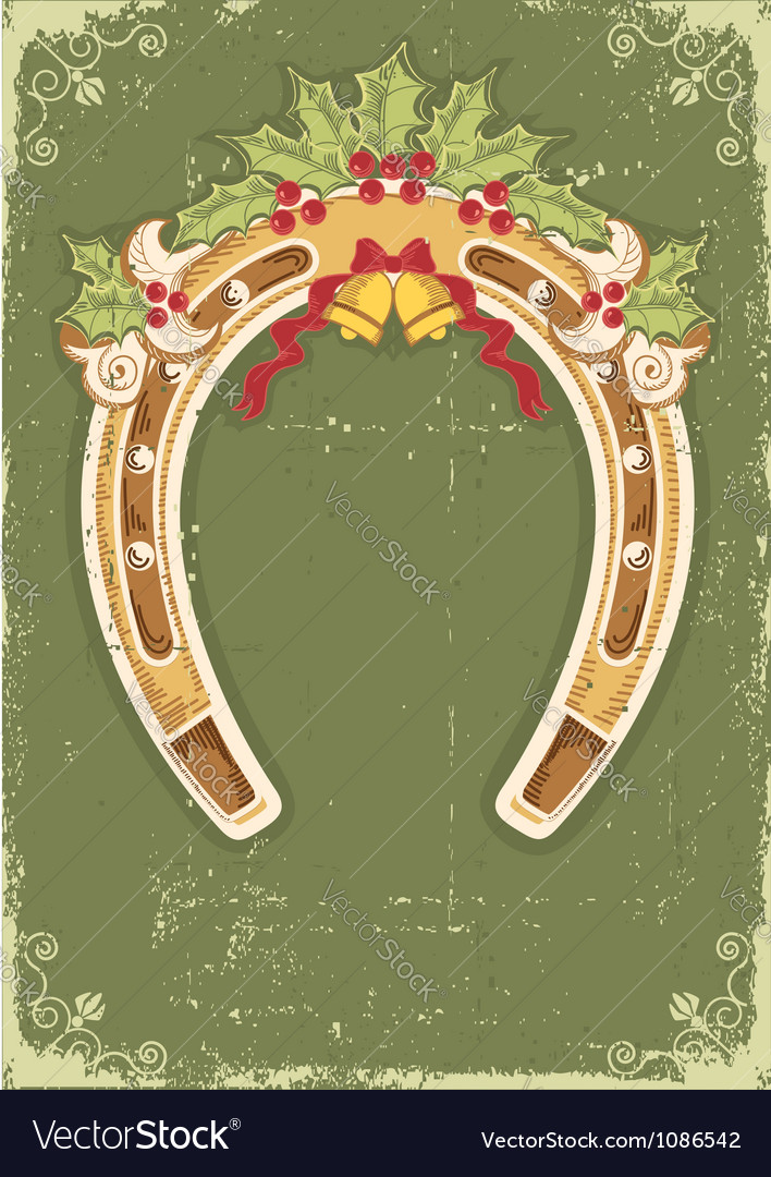 Christmas horseshoe card with holly berry leaves vector | Price: 1 Credit (USD $1)