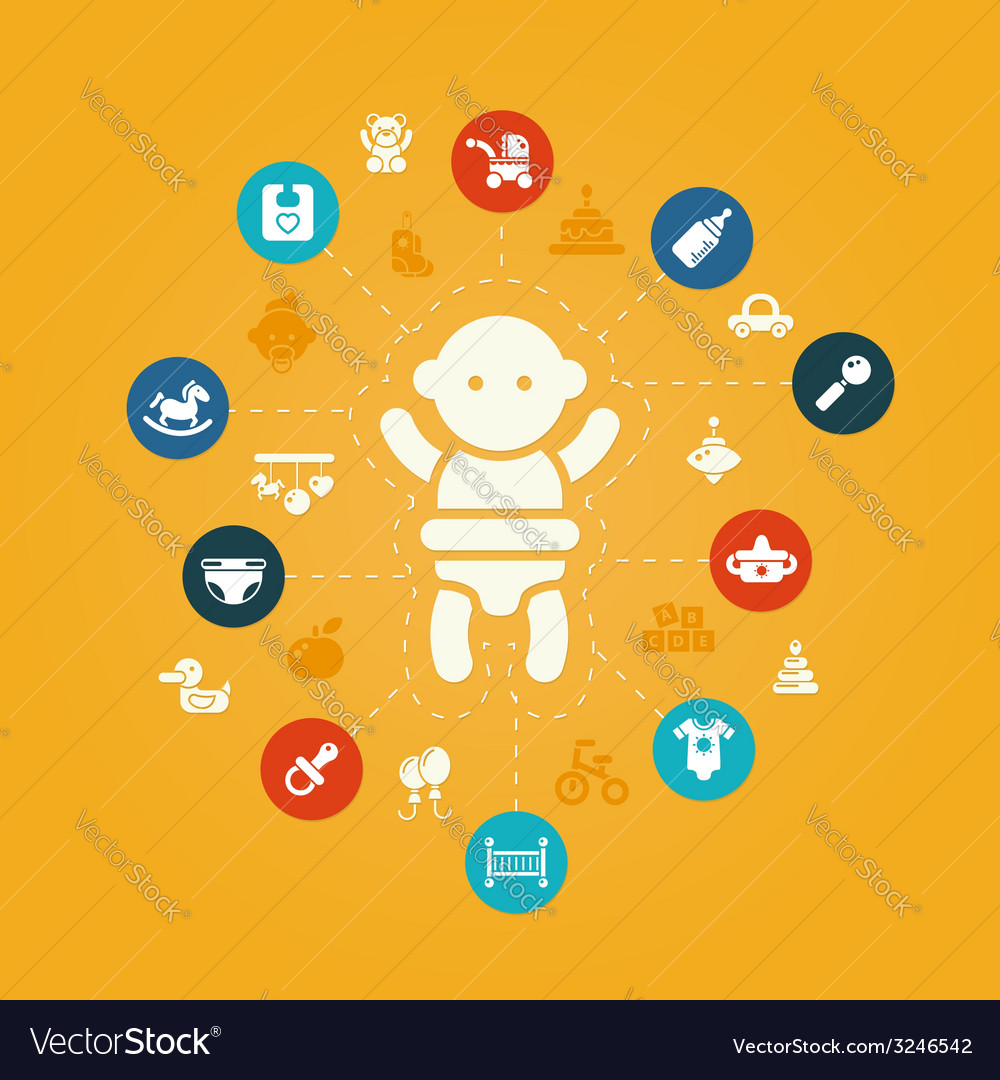Concept flat design cute baby composition with i vector | Price: 1 Credit (USD $1)