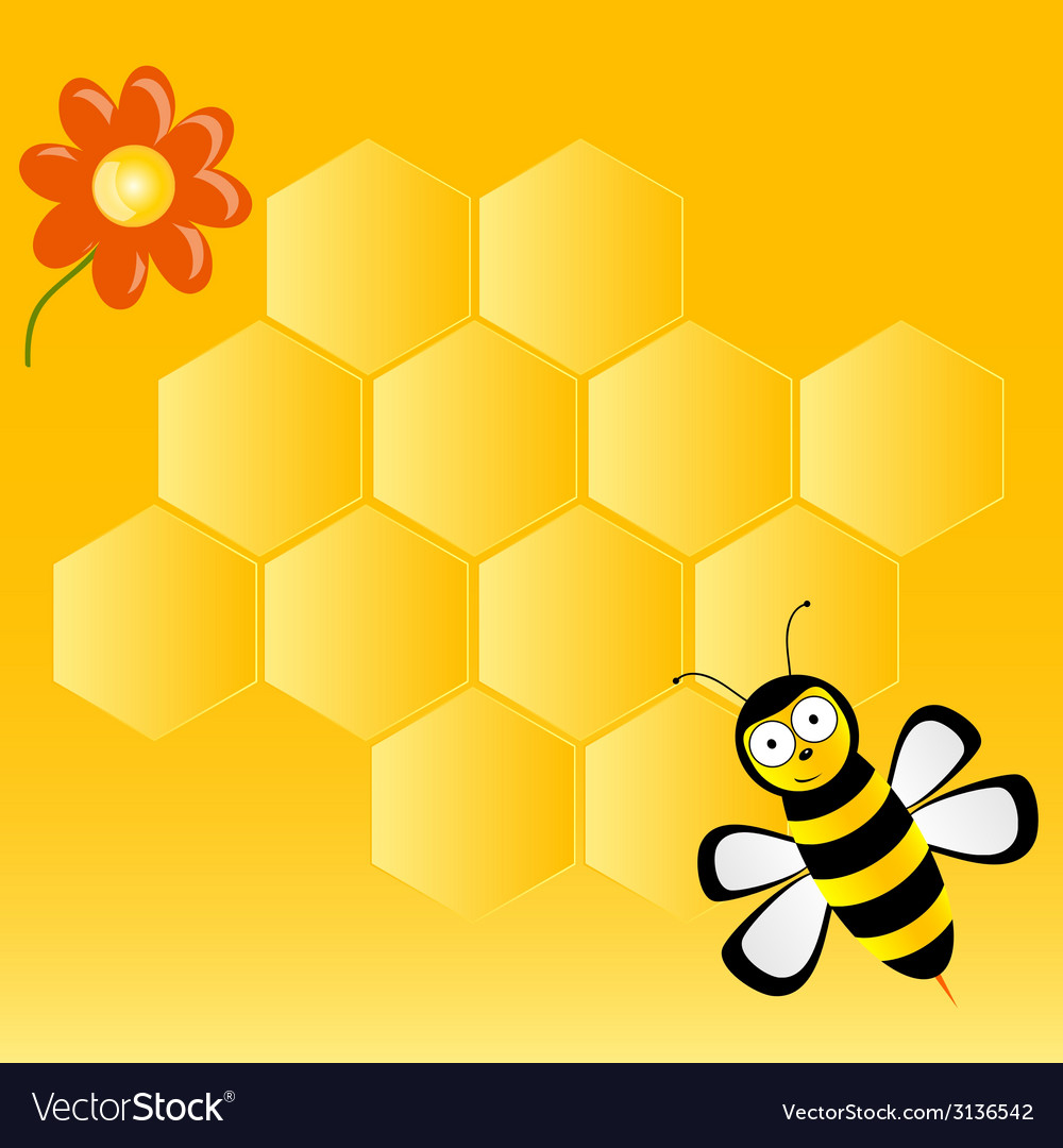 Cute bee with honeycombs vector | Price: 1 Credit (USD $1)
