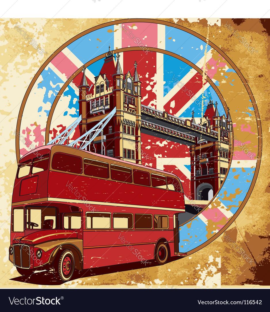 Double-decker bus grunge vector | Price: 5 Credit (USD $5)