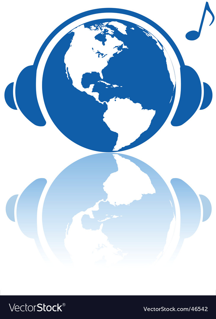 Earth music world headphones vector | Price: 1 Credit (USD $1)