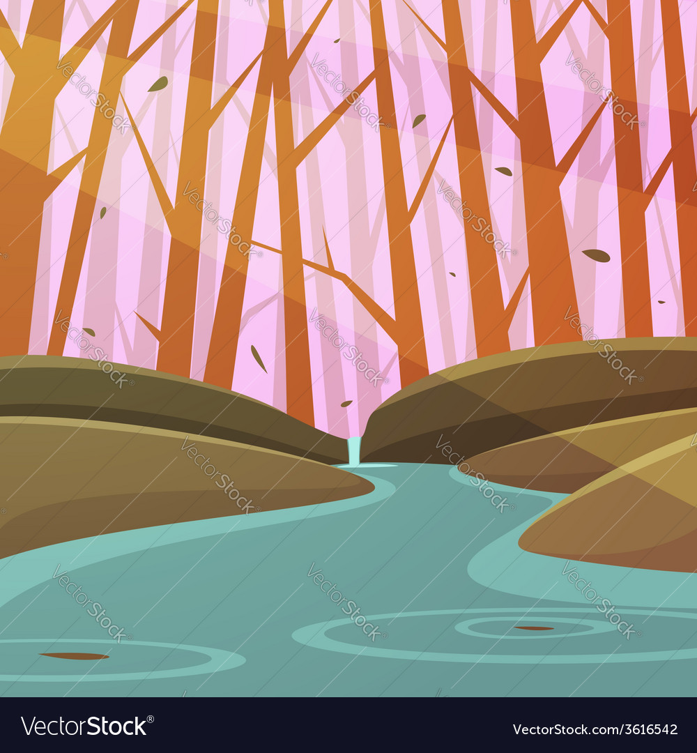 Forest stream vector | Price: 1 Credit (USD $1)