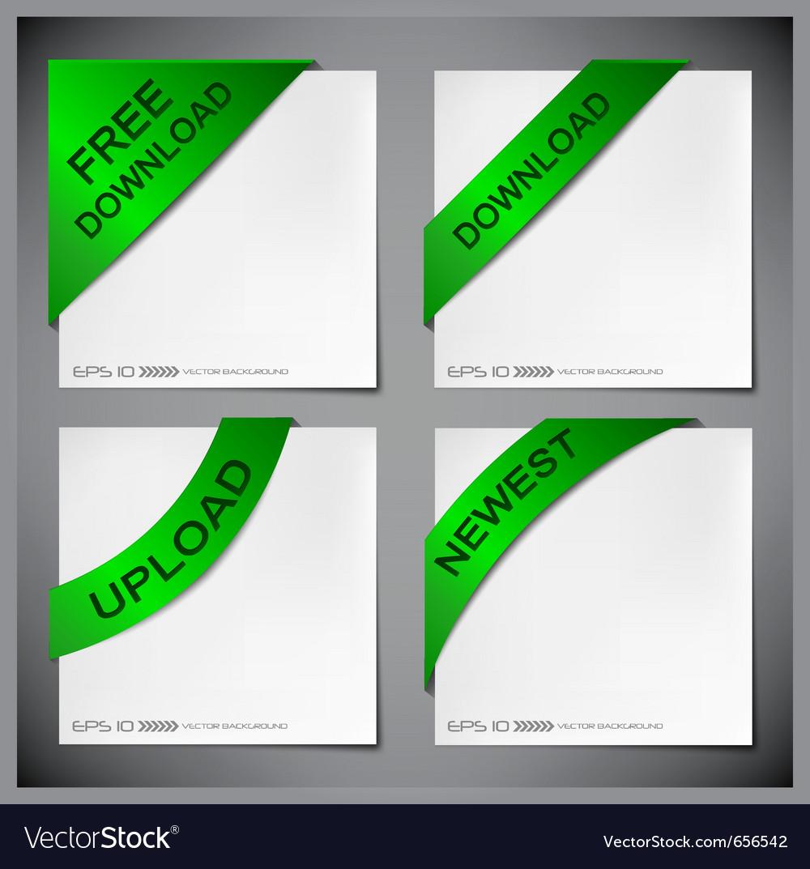 Green corner ribbon vector | Price: 1 Credit (USD $1)