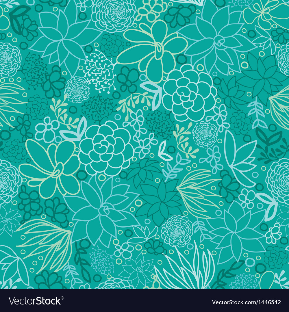 Green succulents seamless pattern background vector | Price: 1 Credit (USD $1)