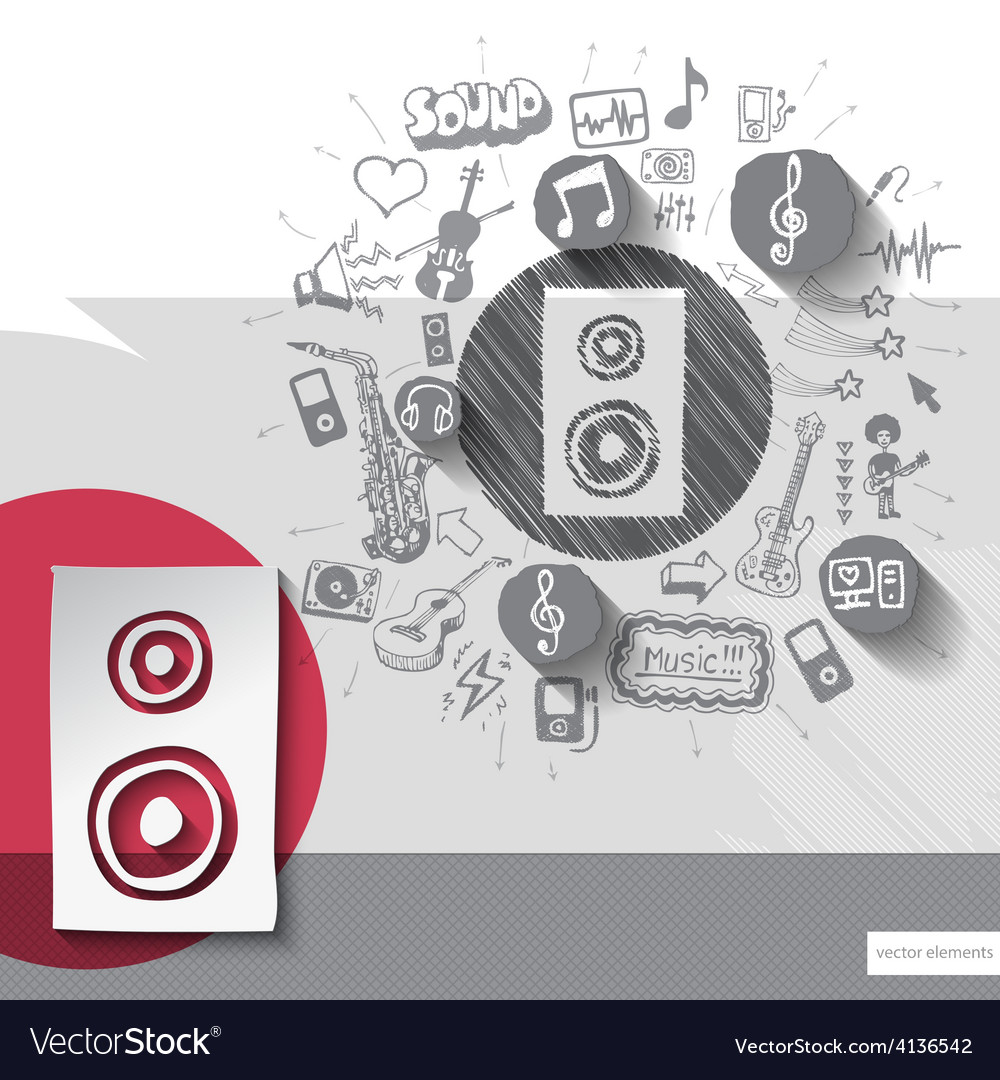 Hand drawn speaker icons with icons background vector   Price: 1 Credit (USD $1)