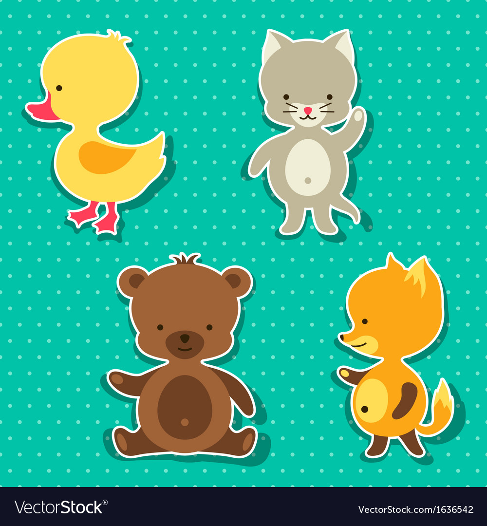Little cute baby cat bear fox and duck stickers vector | Price: 1 Credit (USD $1)