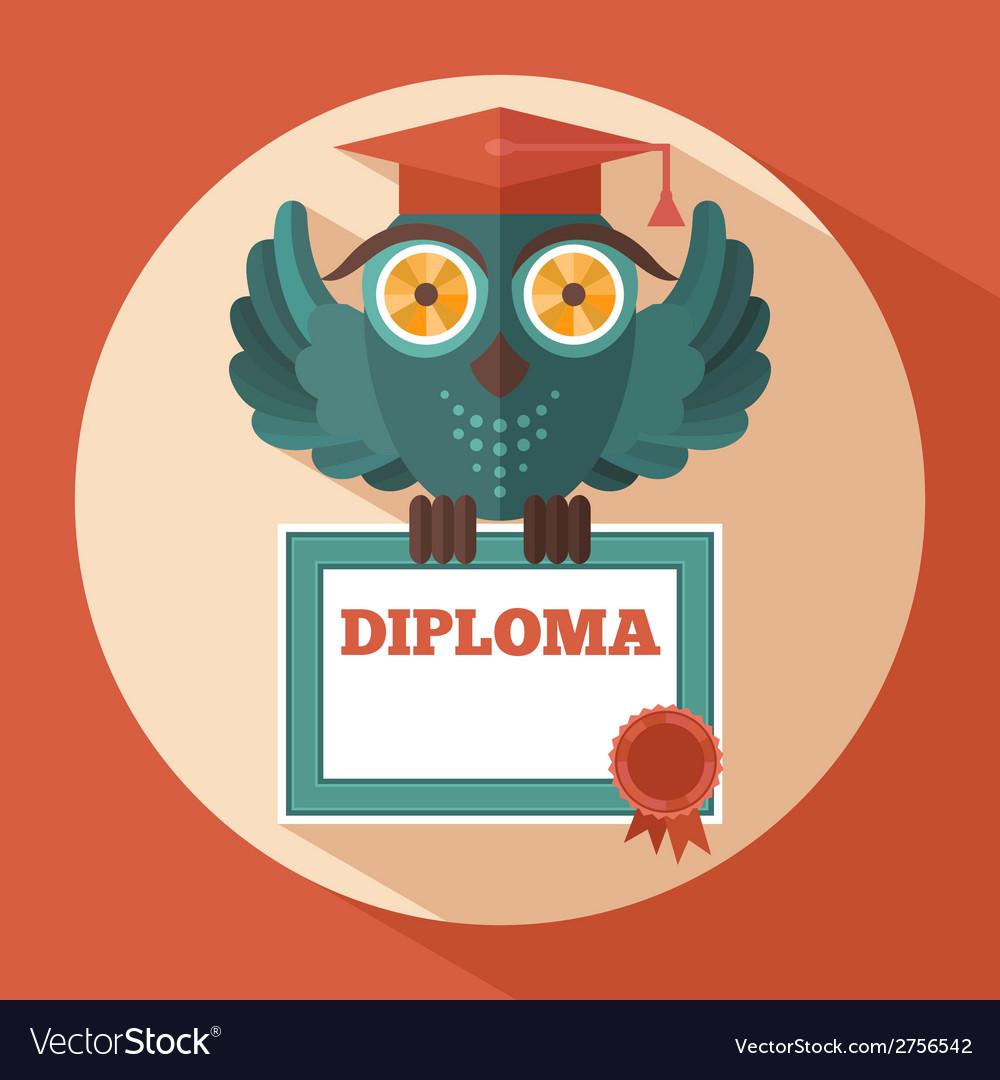 Owl in graduation cap vector | Price: 1 Credit (USD $1)