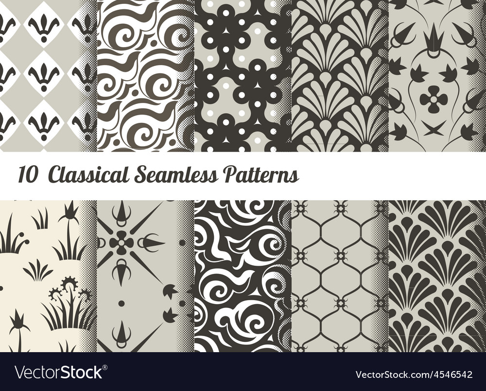Seamless pattern background set of 10 classical vector | Price: 1 Credit (USD $1)