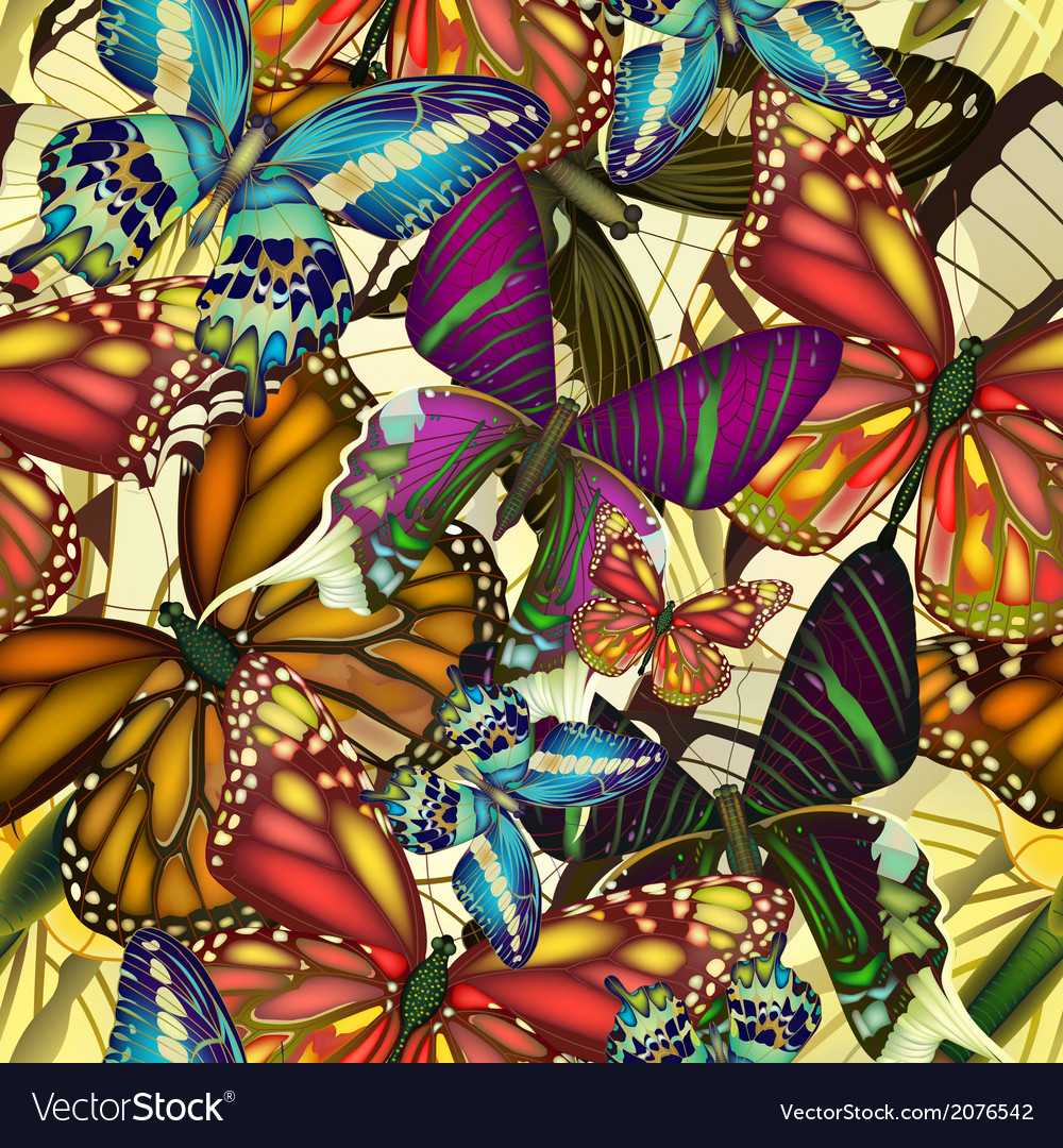 Seamless pattern colorful butterflies eps10 vector | Price: 1 Credit (USD $1)
