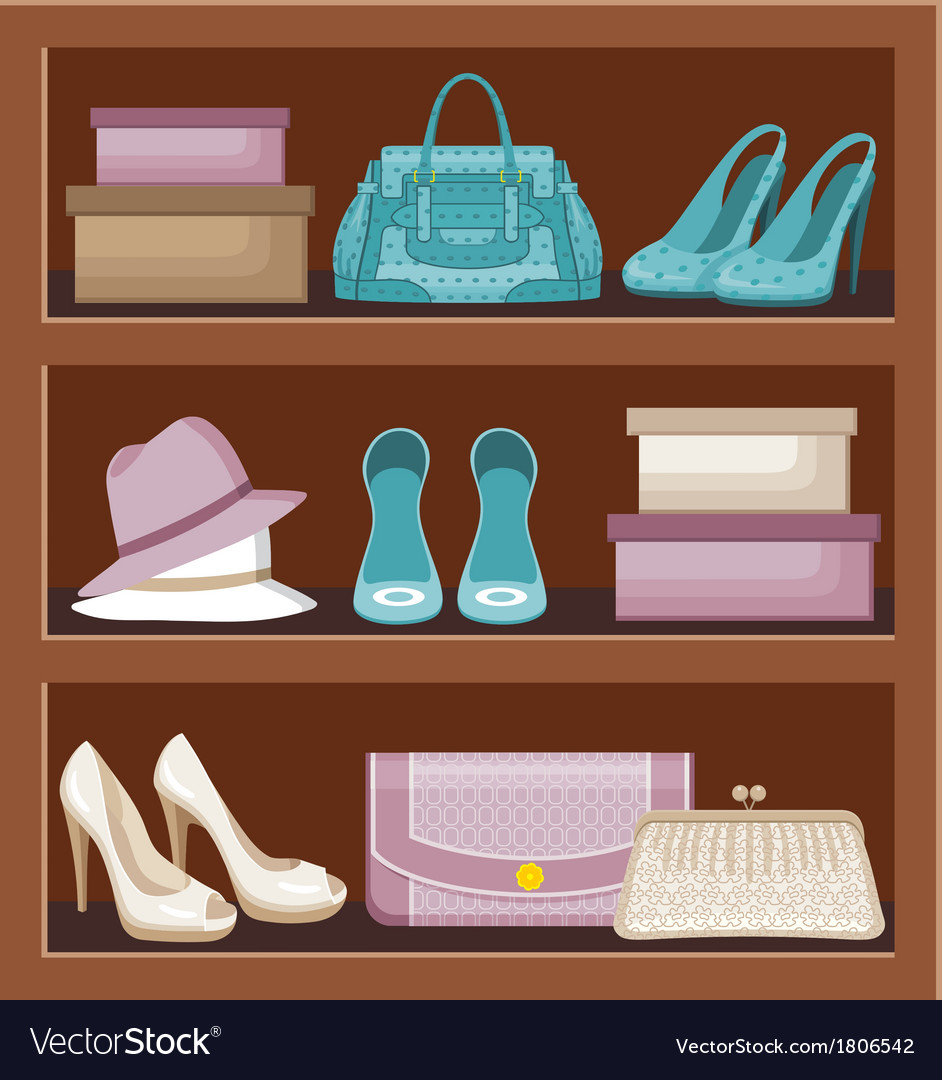 Shelf with bags and shoes vector | Price: 1 Credit (USD $1)