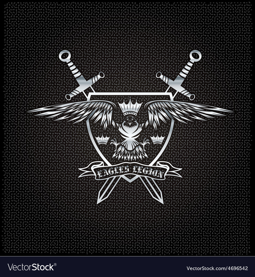 Silver eagle with crown and swords crest on metal vector | Price: 1 Credit (USD $1)