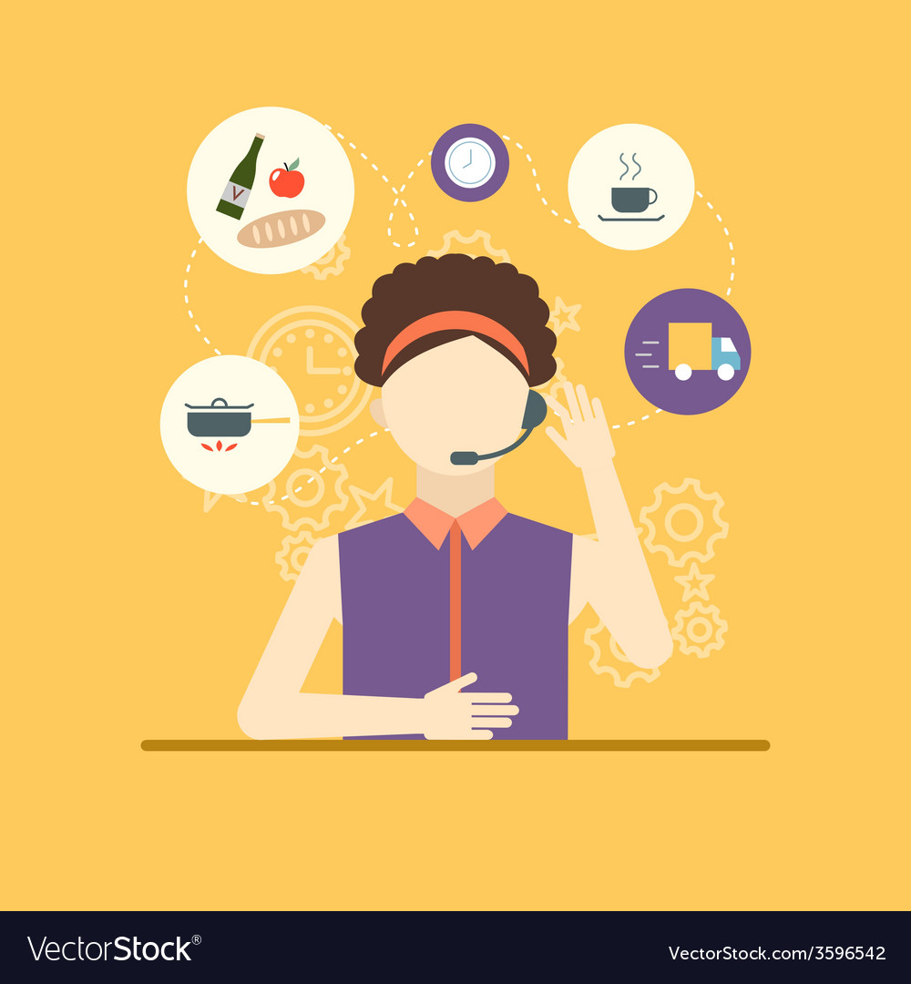 Technical support assistant woman flat design vector | Price: 1 Credit (USD $1)