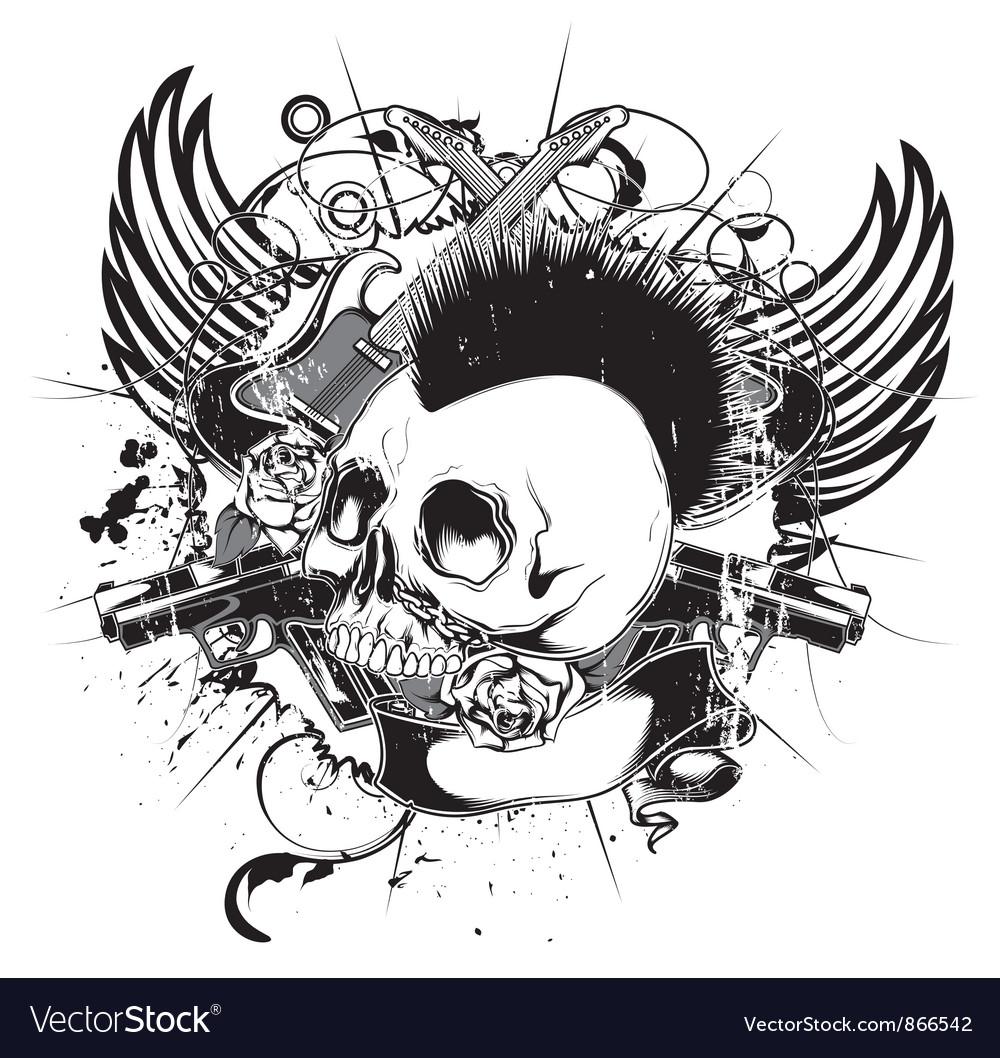 Vintage emblem with skull vector | Price: 1 Credit (USD $1)