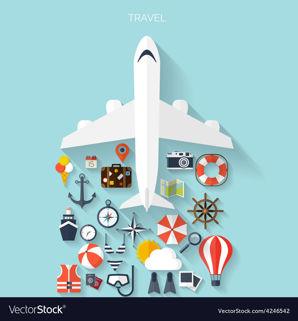 World travel concept background plane flat vector | Price: 1 Credit (USD $1)