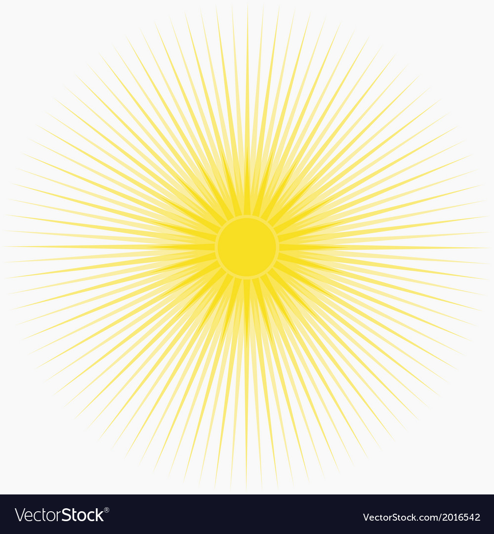 Yellow sun background with long thin rays vector | Price: 1 Credit (USD $1)