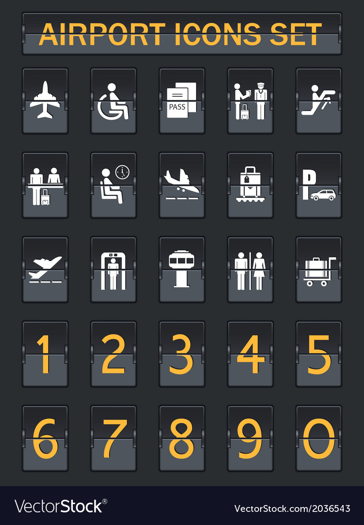 Airport information panel icons set vector | Price: 1 Credit (USD $1)