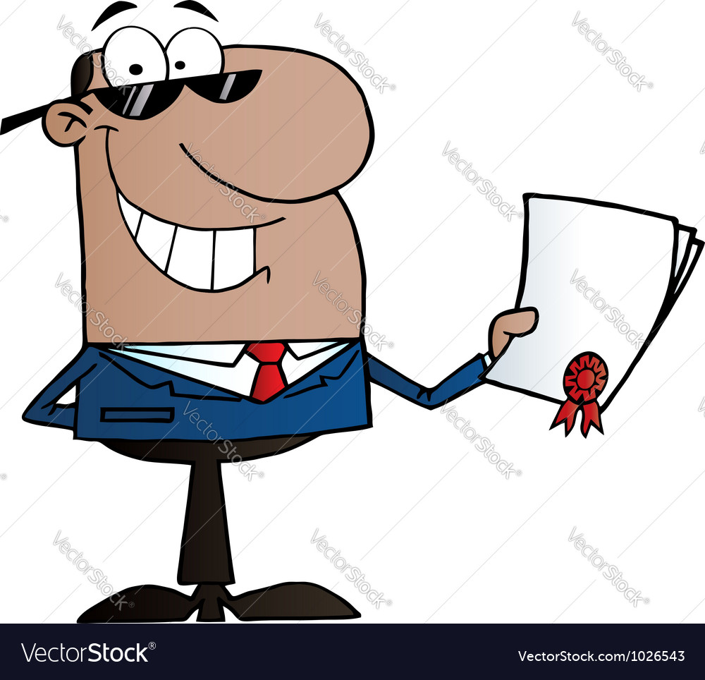 Black businessman holding a contractual agreement vector | Price: 1 Credit (USD $1)