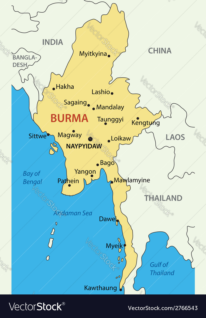 Burma - map vector | Price: 1 Credit (USD $1)