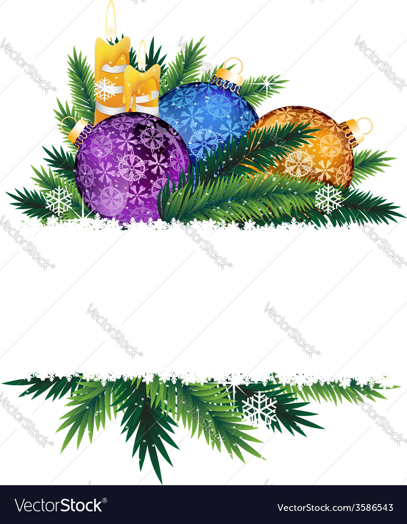 Candles and colorful christmas balls vector | Price: 1 Credit (USD $1)