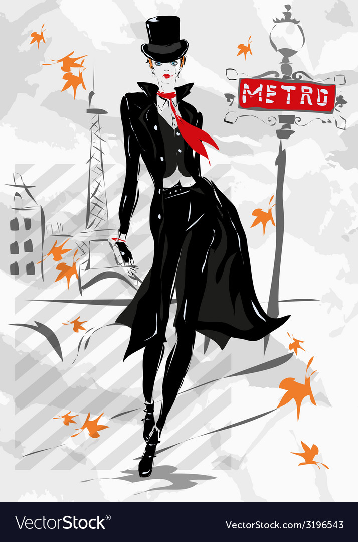 The fashionable woman goes down the street autumn vector | Price: 1 Credit (USD $1)