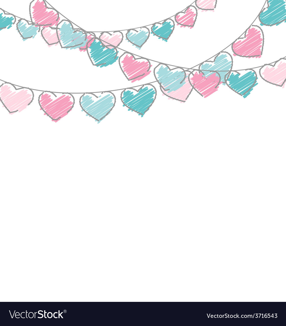 Hand-drawn hearts buntings garlands in pastel vector | Price: 1 Credit (USD $1)