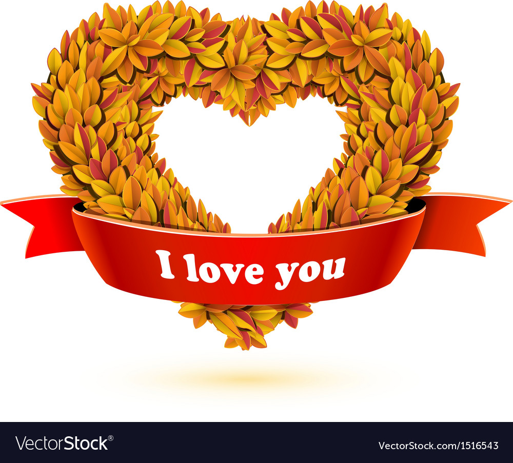 Heart of fall leaves and red ribbon banner vector | Price: 1 Credit (USD $1)