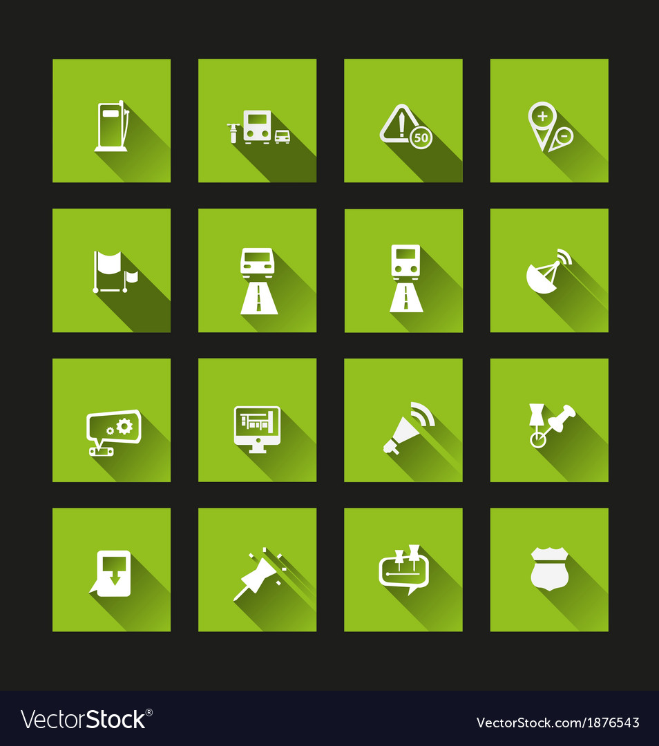 Navigation icons long shadow vector | Price: 1 Credit (USD $1)