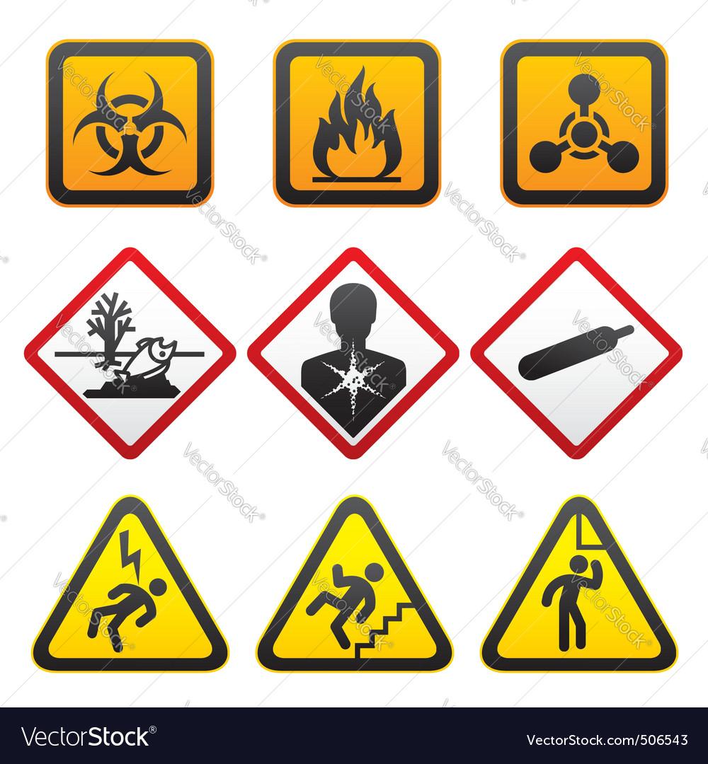 Warning symbols  hazard signssecond set vector | Price: 1 Credit (USD $1)