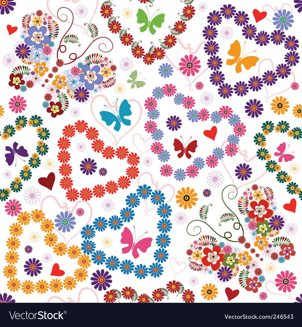 White seamless floral valentine pattern vector | Price: 1 Credit (USD $1)