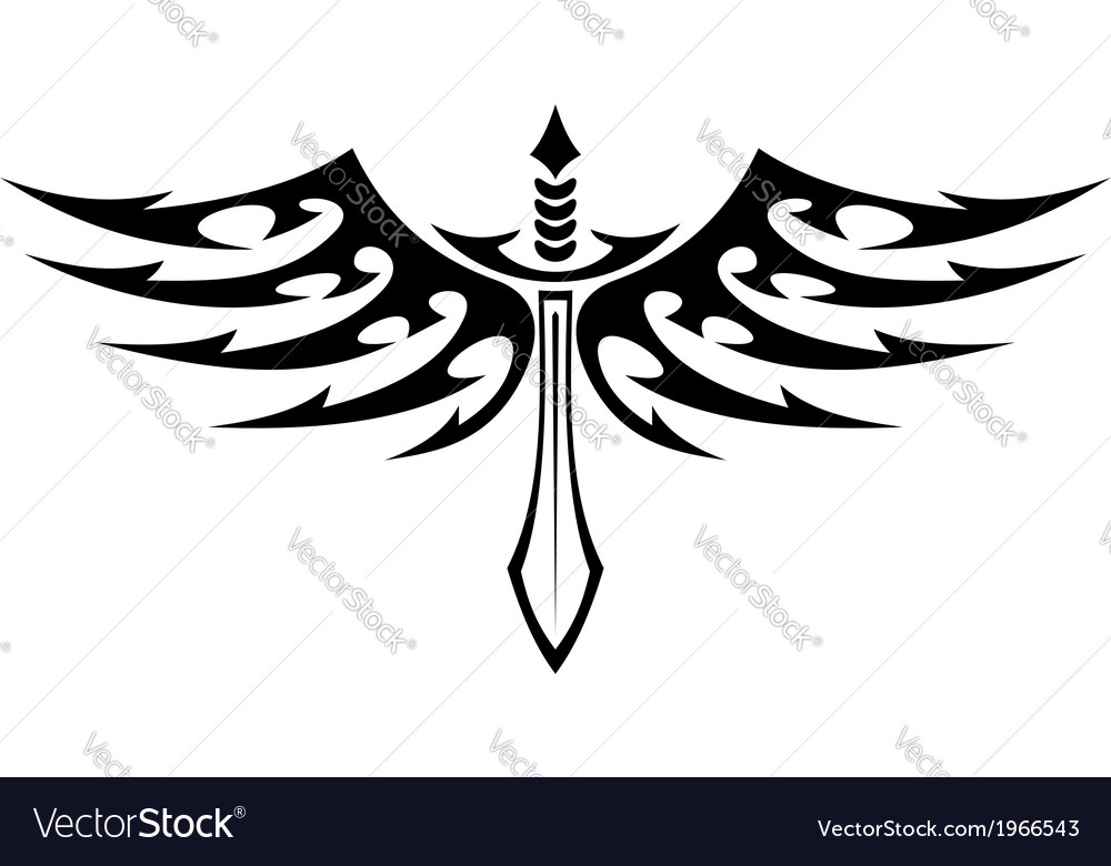 Winged sword tattoo with barbed feathers vector | Price: 1 Credit (USD $1)