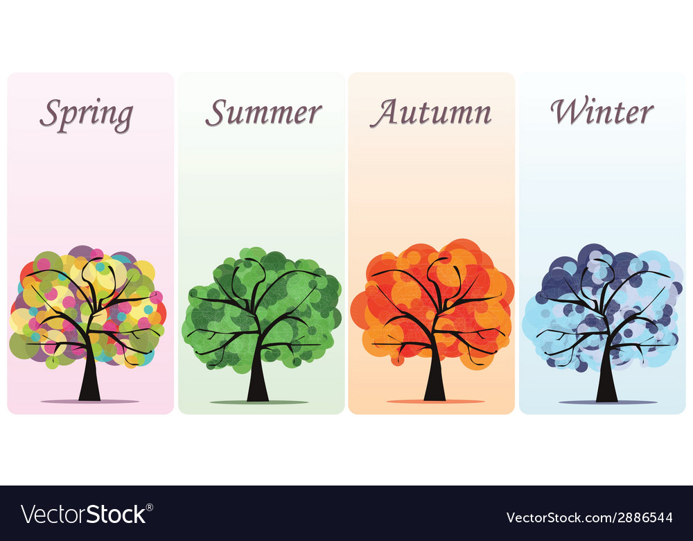 Abstract seasonal trees vector | Price: 1 Credit (USD $1)