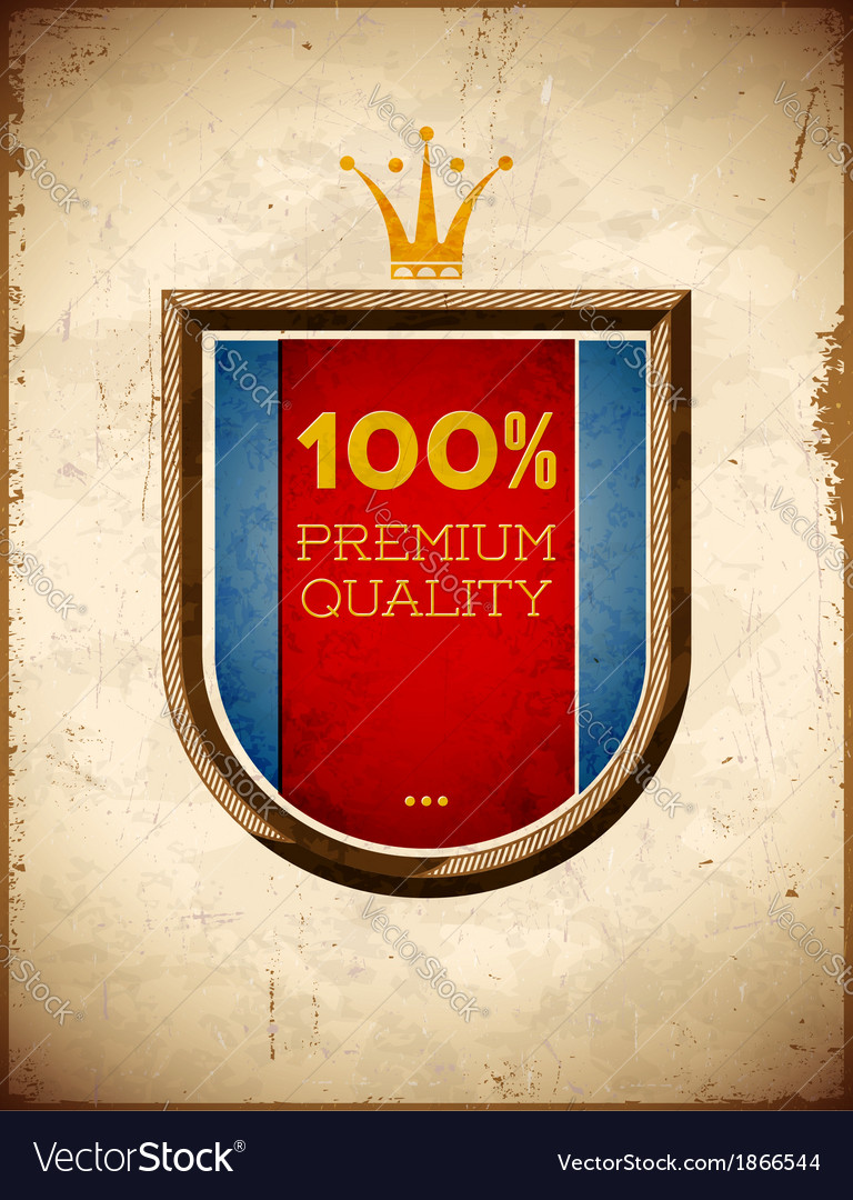 Aged card with 100 percent quality shield label vector | Price: 1 Credit (USD $1)