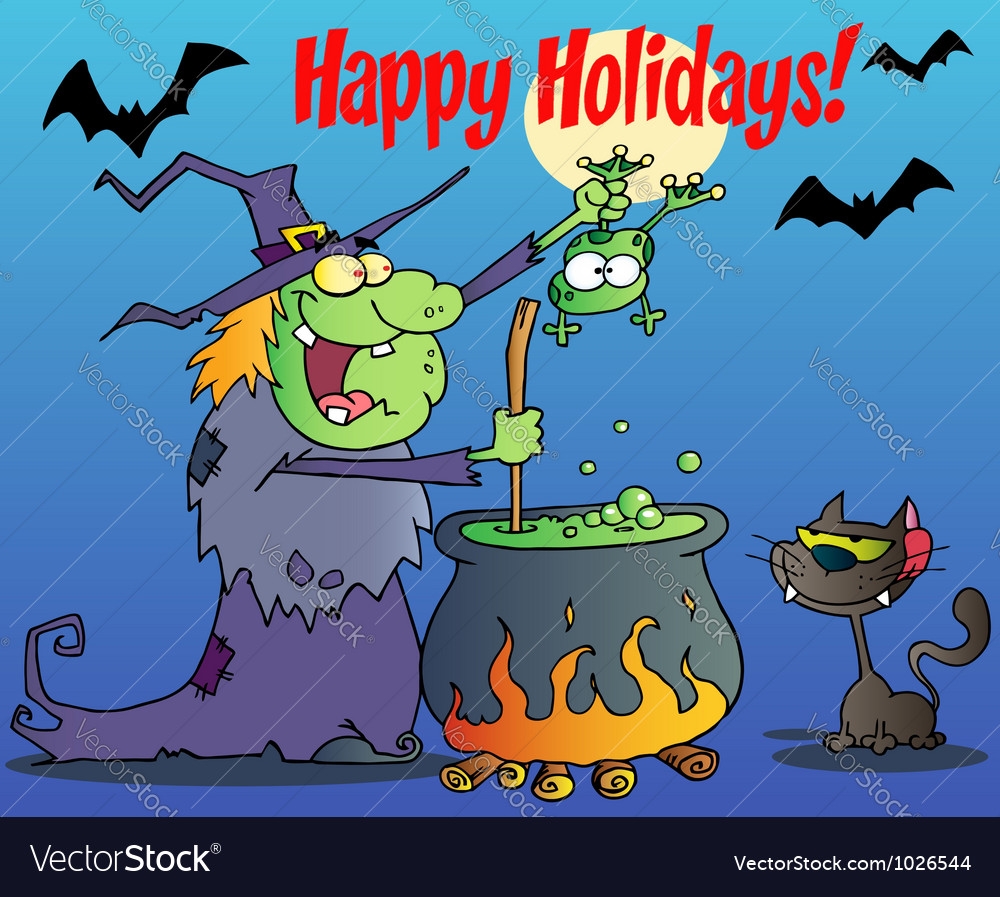 Happy holidays greeting over a witch vector | Price: 1 Credit (USD $1)