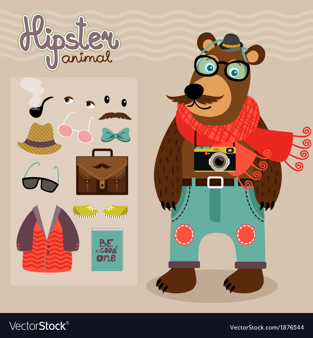 Hipster pack for animal teddy bear vector | Price: 1 Credit (USD $1)