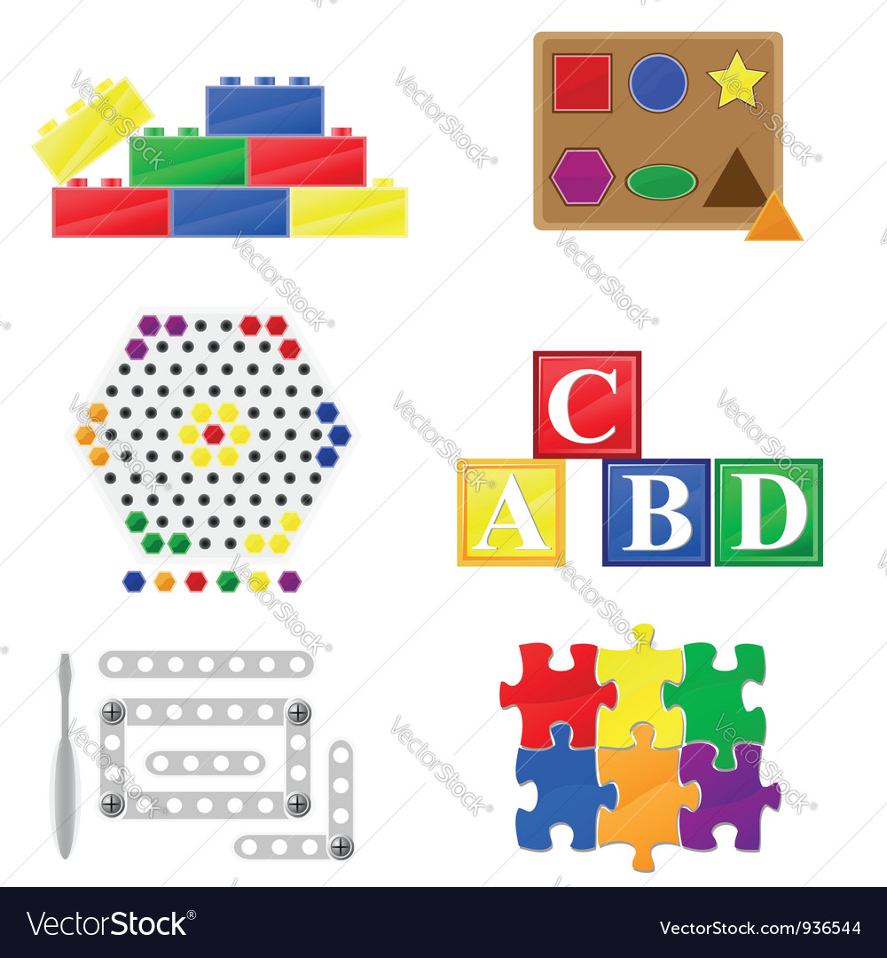 Icons educational toys for children vector | Price: 1 Credit (USD $1)
