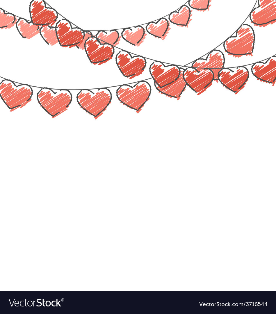 Red hand-drawn hearts buntings garlands on white vector | Price: 1 Credit (USD $1)
