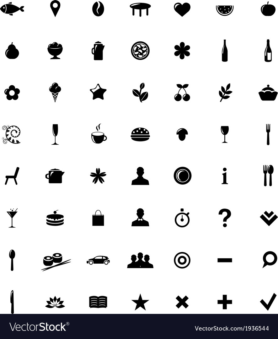 Restaurant and map icons set vector | Price: 1 Credit (USD $1)