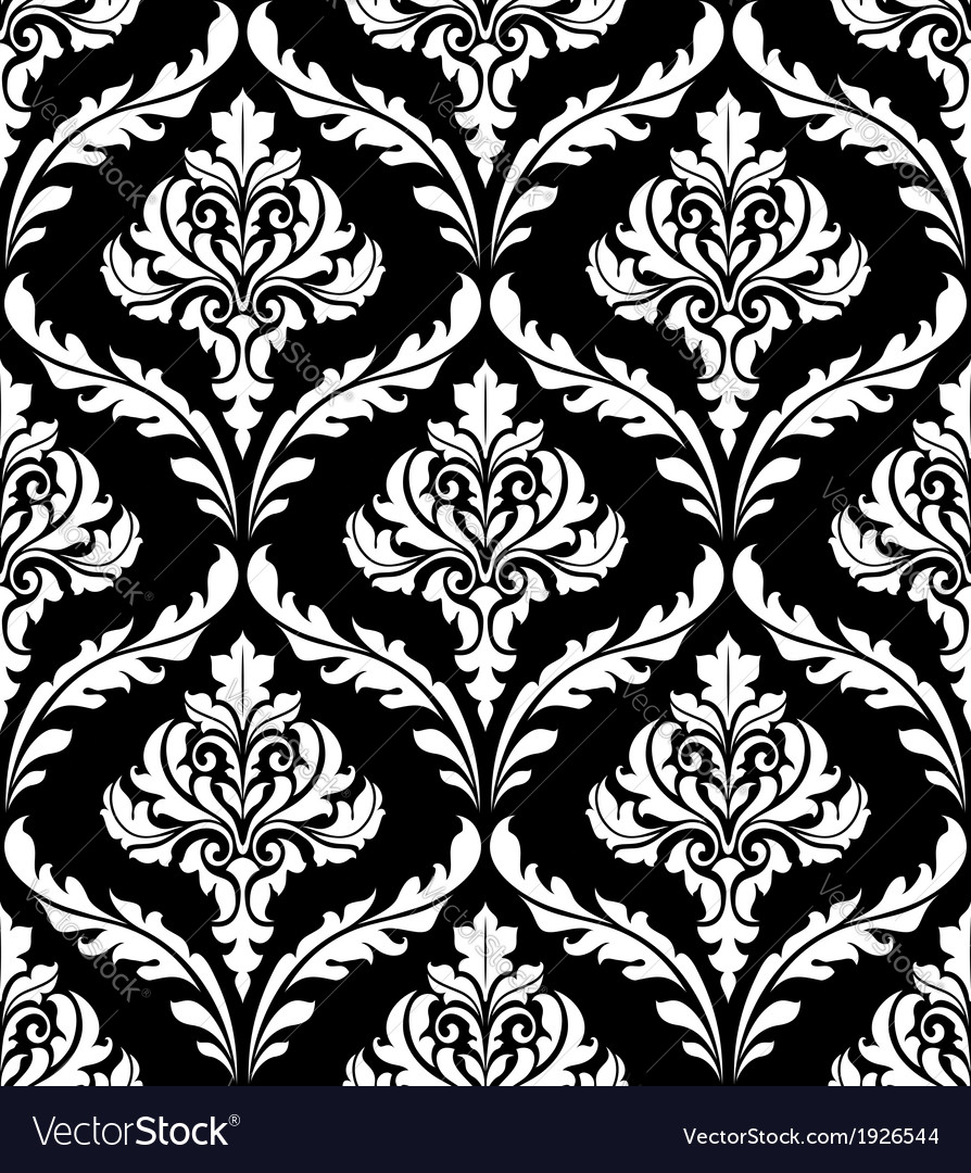 Seamless arabesque design in black and white vector | Price: 1 Credit (USD $1)