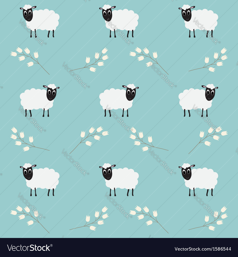 Seamless pattern with flowers and sheep vector | Price: 1 Credit (USD $1)