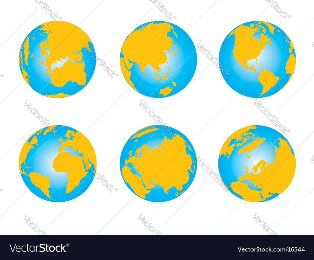 Set of globes world map vector | Price: 1 Credit (USD $1)