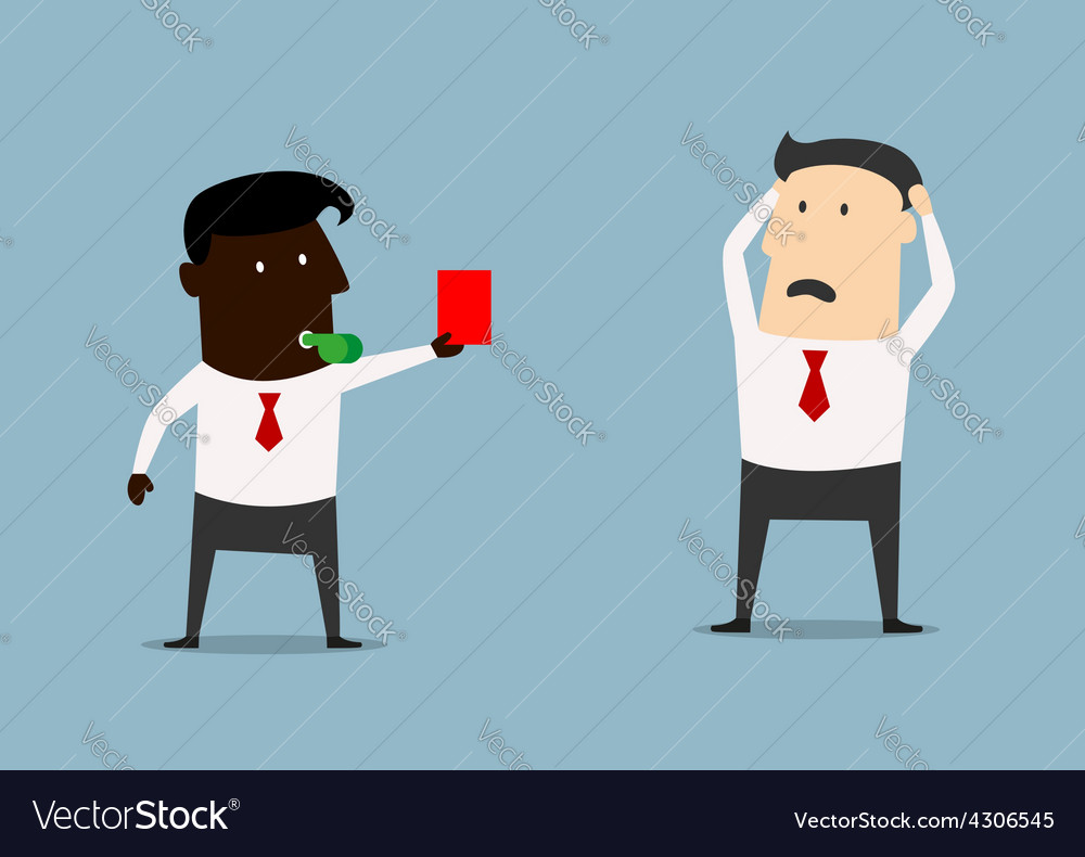 African american boss showing red card to manager vector | Price: 1 Credit (USD $1)